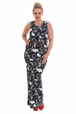 New Womens Dress Ladies Maxi Style Gothic Skull & Roses Print Plus Size Nouvelle