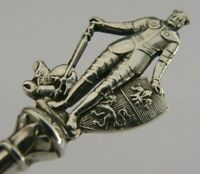 BEAUTIFUL SOLID SILVER MEDIEVAL KNIGHT JAM PRESERVE SPOON 1919 ANTIQUE