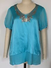 BNWOT VERTIGO Designer Short Sleeve Top, 100% Silk, SMALL, $235 on tag