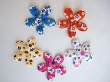 "50 BIG 2"" Corduroy Floral Color Print Fabric Flower Applique/bow/Craft/Trim H48"