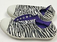 Miley Cyrus Max Azria Zebra Print Sneakers Shoes Womens Size 8 Lace Up Canvas