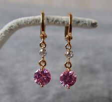 18k/18ct Yellow Gold Filled Pink Sapphire Leverback Drop Dangle Earrings