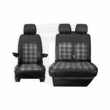 VW Transporter T5.1 and T6 Tailored Black And GREY GTI Style Seat Covers 2 + 1