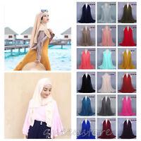 Muslim Chiffon Women Headscarf Soft Solid Shawl Hijab Islamic Turban Headwear