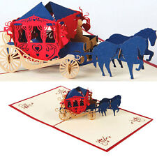 3D Vintage Horse Carriage Pop Up Cards Invitation Happy Birthday New
