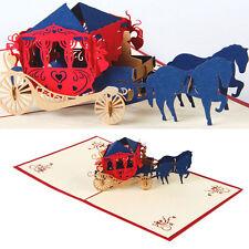 3D Weinlese Pferdewagen Pop up Karten Einladung Alles Gute zum Geburtstag Jubilä