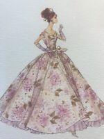 Vintage Note Card Barbie Robert Best Beautiful Ball Gown design purple Unused