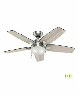 NEW!!  HUNTER Antero 46 in. LED Indoor Brushed Nickel Ceiling Fan with Light