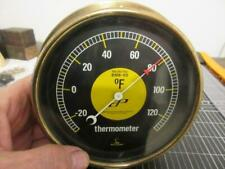 New listing Vintage Lufft Brass Black Faced Thermometer Gage Made in Germany