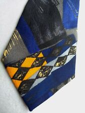 ERMENEGILDO ZEGNA Neck Tie Italy 100% Silk Designer Luxury Blue Black Yellow