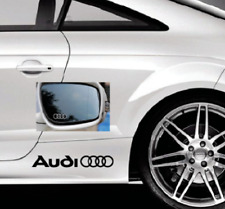 2 x AUDI LOGO RINGS 2 x MIRROR CAR VINYL STICKERS / DECALS SIDE SKIRT GRAPHICS