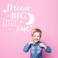 Dream Big Little One Quote Baby White Nursery Bedroom Wall Sticker Decor