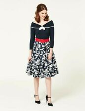 Lovely Hard To Find Review Marseilles Full Skirt Navy Floral 12 14 Vintage Style