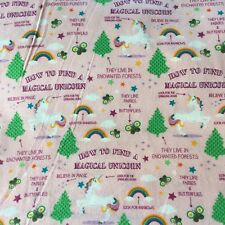 How To Find A Magical Unicorn Flannel Fabric BTY Pink Snuggle Cotton New