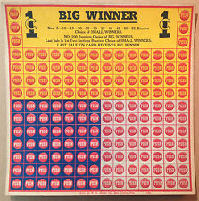 """Vintage 1930s 1-CENT """"Big Winner"""" PUNCH BOARD GAME - UNUSED / UNPUNCHED CARD!"""