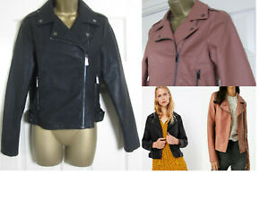 NEW M&S Marks & Spencer Womens Biker Jacket Faux Leather Black Blush Size 6-22