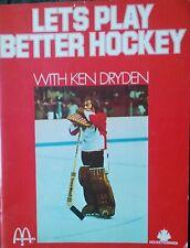 Let's Play Better Hockey Ken Dryden NHL McDonald's Promotion Canada 1973 Rare!!