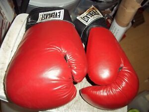 EVERLAST 2084 RED LEATHER BLACK WRAPS BOXING GLOVES 14oz LARGE BARELY USED
