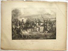 "Lithographie, DECAMPS, "" Bataille d'Aboukir, campagne d'Egypte, Bonaparte"""