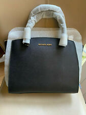 Brand New Michael Kors Ellis Large Saffiano Leather Satchel Tote Bag, Black