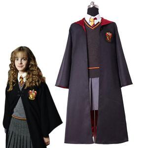 Kid Version Hermione Granger Cosplay Costume Kid Child Gryffindor Uniform Dress
