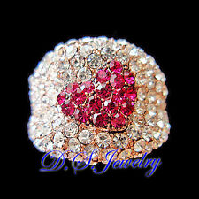 Full of Hot Pink & Clear Swarovski Crystal Rhinestones Heart Wide Ring