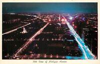 Chicago Illinois~Birdseye: Night Lights View of Michigan Avenue~1956 Postcard