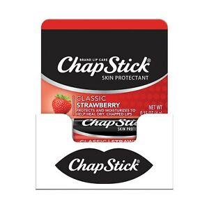 ChapStick Classic Lip Balm Skin Protectant Bulk, 12 Count, Strawberry Flavor,...