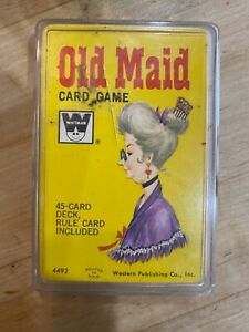 VINTAGE WHITMAN OLD MAID CARD GAME COMPLETE w/ PLASTIC CASE #4492