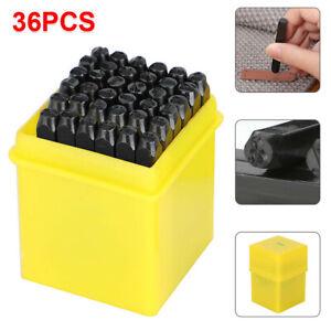 36pcs Stamps Punch Set Steel Metal Die Tool Craft Letters Numbers 3/5/6mm