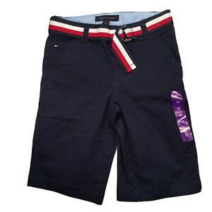 Tommy Hilfiger Boys Belted Stretch Adjustable Waist Shorts Embroidered Logo
