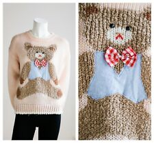 Vintage Peach Pink Large Teddy Bear Motif Pullover Sweater M