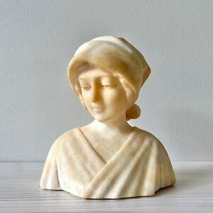 Beautiful Antique Vintage Carved Alabaster Bust Maiden Nun Saint Woman Madonna