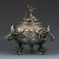 Old Chinese Silver Copper Hand-Carved Dragon Incense Burner XuanDe Mark