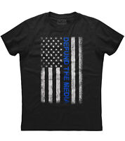 Mens Thin Blue Line Defund The Media Patriotic T-Shirt American Flag Police USA