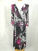 Ladies Dress Size 12 Long Tall PER UNA Grey Pink Stretch Smart Casual Day Party