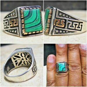 925 Sterling Silver mens ring natural unheayed green Malachite stone