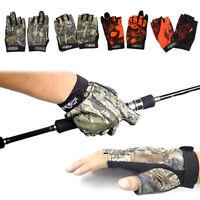 Camouflage/Orange 3 Cut-Finger/Fingerless Anti-slip Flexible Fishing Pair Gloves