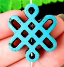 28x24x4mm Blue Turquoise Chinese Knot Height Holes Pendant Bead BV55611