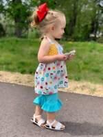 Girls, Toddler Outfit Vintage Chicken Halter Ruffle Capri Set 2T 3T 4T 5 6 7 8
