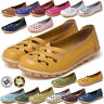 Womens Ladies Soft Leather Work Casual Ballet Slip On Loafer Flat Comfy Shoes