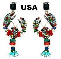 US Seller Betsey Johnson Mismatch Multicolor Crystal Lobster Earrings