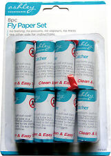 8 PACK OF STICKY FLY / INSECT PAPERS - CEILING HANGING - SIMPLE & VERY EFFECTIVE