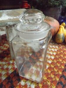 "Beautiful Old Vintage Clear Glass Apothecary Jar Thumbprint Lid 11 5/8"" Tall"