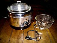 Vintage 1960s KENMORE Stainless Steel DEEP FAT FRYER Basket, Handle, Lid & Cord