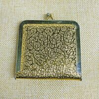 Gold Tone Vintage Compact Double Mirror Coin Purse Style