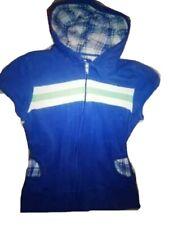 Womens Juniors Maurice's Lounge Blue Hooded Cap Sleeve Zip Top Sz XXS  XS  S