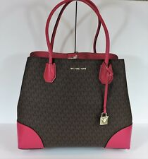 New Michael Kors Large Mercer Gallery ultra pink brown Mono MK bag corner snap