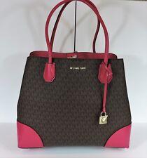 New Michael Kors Large Mercer Gallery ultra pink brown Mono MK bag corner snap