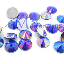 100pcs 12mm Dark Blue AB Flat Back Round Pointed Rivoli Resin Rhinestone Gems C7